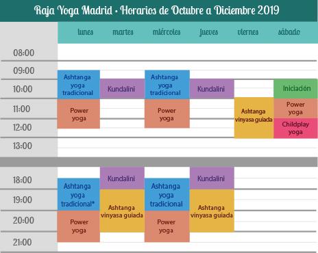 Yoga en torrelodones horarios octubre a diciembre 2019
