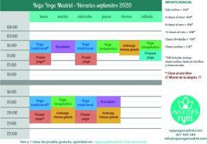 Raja Yoga Madrid - Horarios septiembre 2020