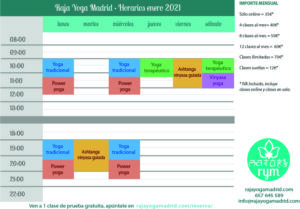 Raja Yoga Madrid - Horarios enero 2021