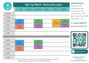 Raja Yoga Madrid - Horarios verano 2021