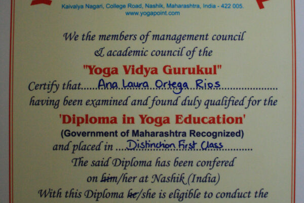 Yoga Teacher Training diploma