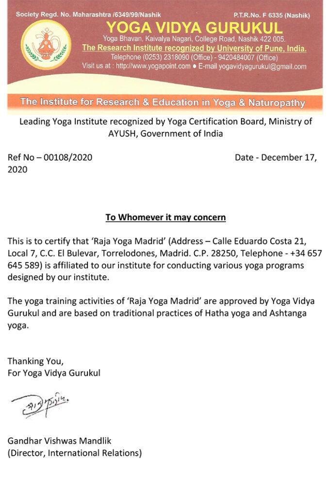 Raja Yoga Madrid Affiliation Certificate