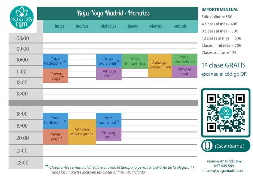 Raja Yoga Madrid - Horarios marzo 2021