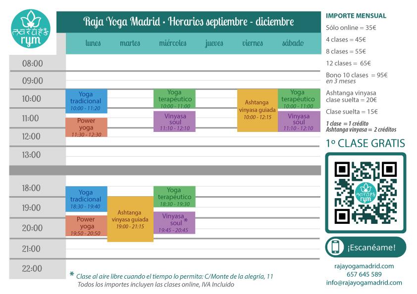 Raja Yoga Madrid - Horarios septiembre - diciembre 2021